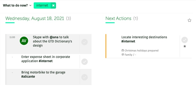 filter by context in the Engage section