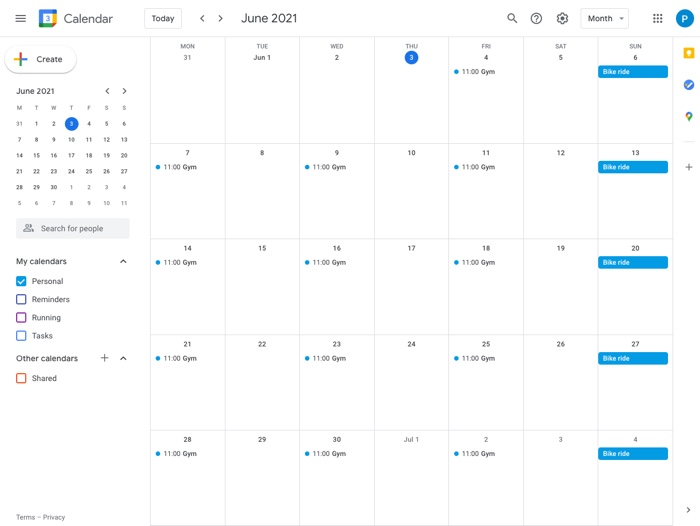 eventos repetitivos en Google Calendar