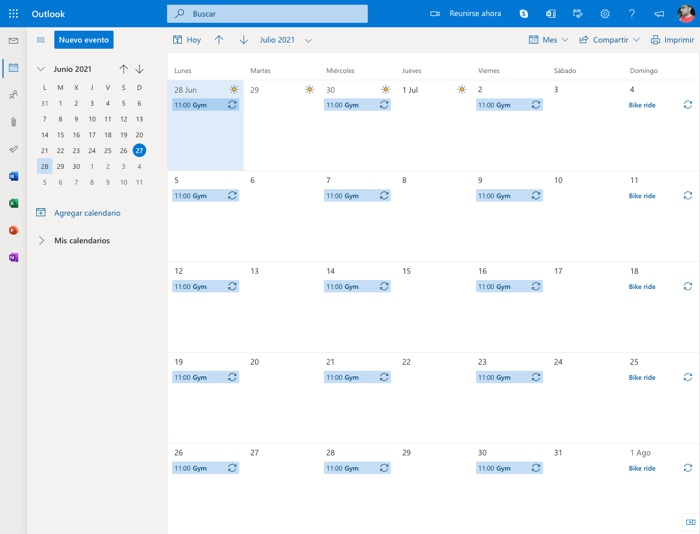 eventos repetitivos en Outlook Calendar