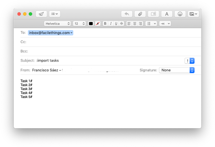 email to import tasks