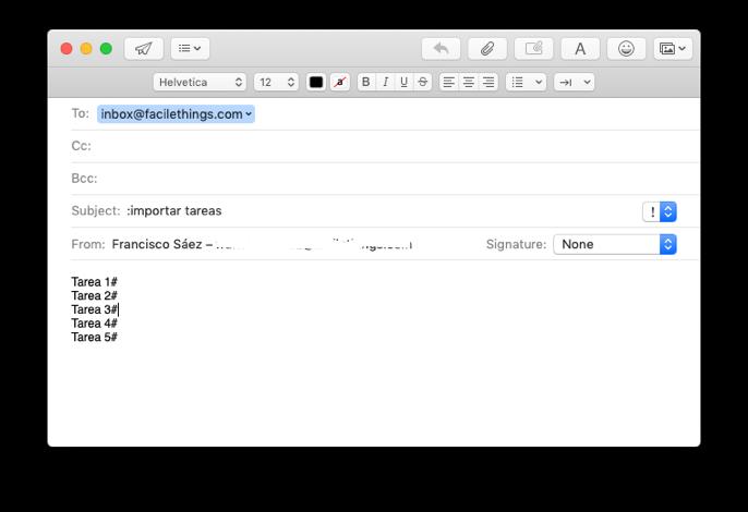 email de importación de tareas