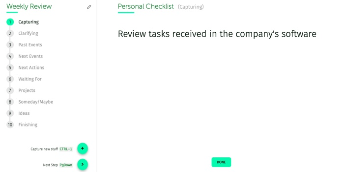 weekly review, personal checklist