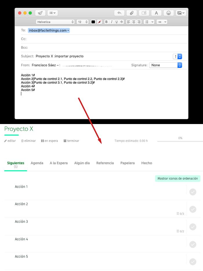 email de importación de proyecto