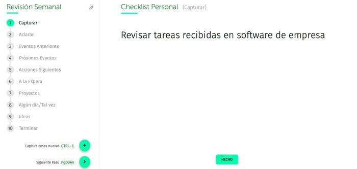 revisión semanal, ver checklist personal